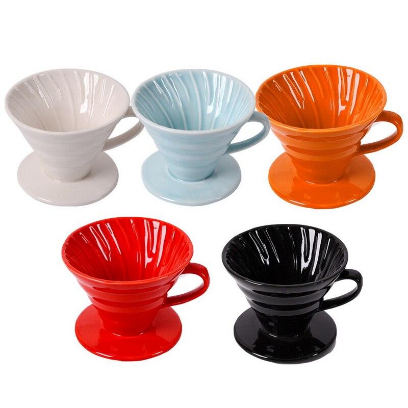 De café de cerámica gotero motor V60 estilo café Filtro de goteo taza permanente Pour café fabricante separada, con soporte para 1-4 tazas