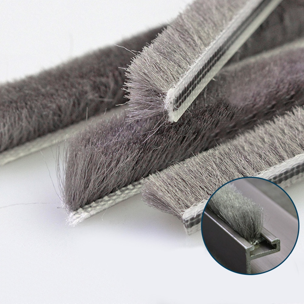10m Draught Excluder Brush Window Pile Seal Strip Door Weatherstrip 5mm*6mm Vertical Hair Soundproof And Dustproof Sealing