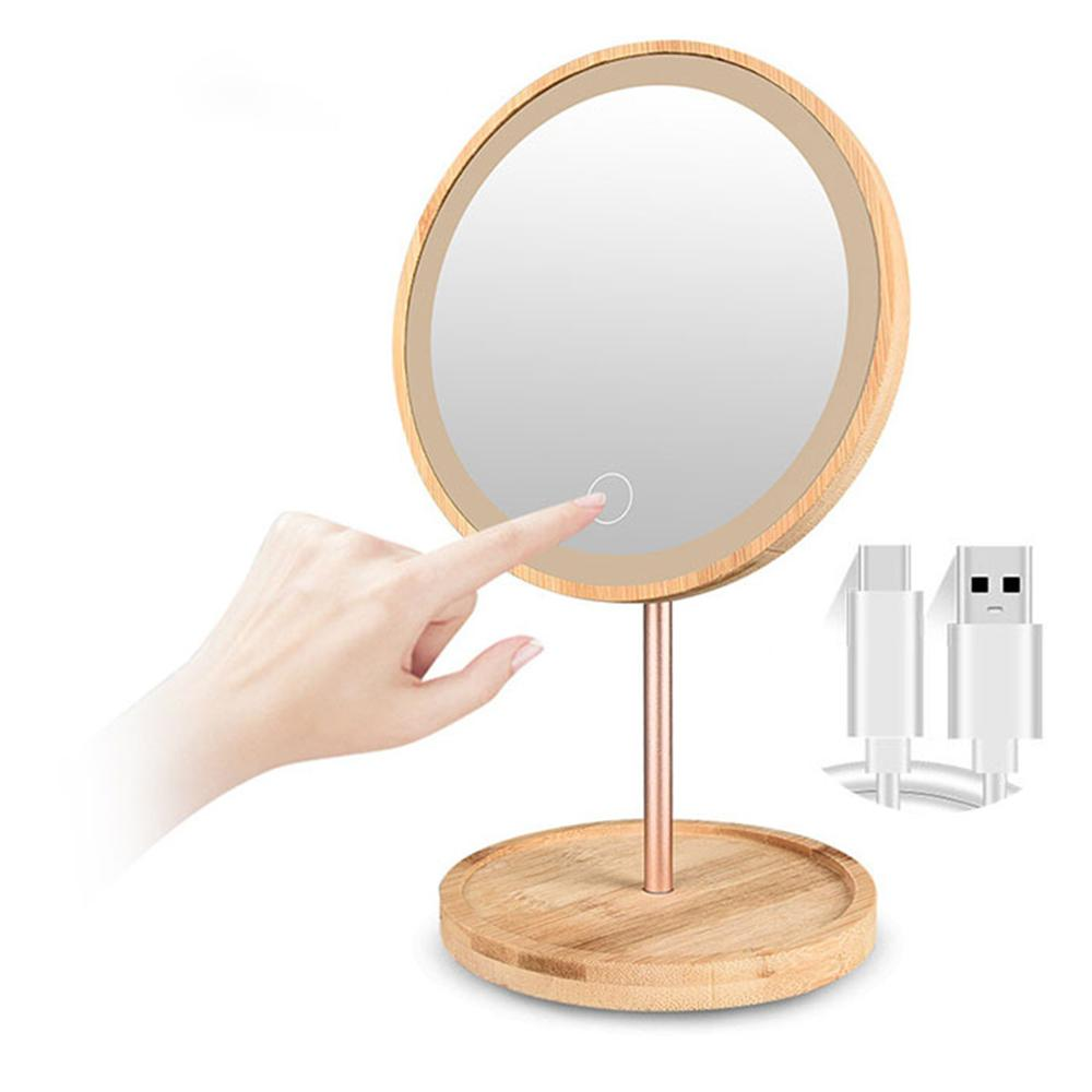 مصباح LED من خشب البامبو قابل لإعادة الشحن مع USB ، مرآة الزينة ، منضدة الزينة ، مع مستشعر اللمس ، 3 مستويات من السطوع ، لسطح المكتب
