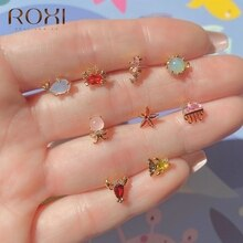 ROXI Copper Colorful Sea Animals Zircon Crystals Stud Earrings for Women Girls Lovely Summer Earring