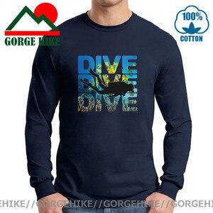 Design Man Printed long T-Shirt SCUBA DIVER dive down flag Dive funny Black long T Shirts Mens 2021 New brand Design Summer Tees