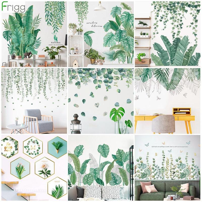 Hojas verdes, pegatinas de pared para el hogar, dormitorio, sala, Tropical, pegatina de pared de plantas, vinilo, pegatinas de pared, murales de puerta, papel tapiz