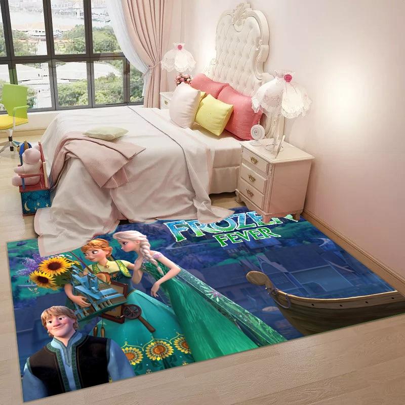 Cartoon Playmat 3D Printed  Design Livingroom Carpet Anna Elsa Rug Princess Mat Kids Large Carpets Playmate Rug Home Decor Gift