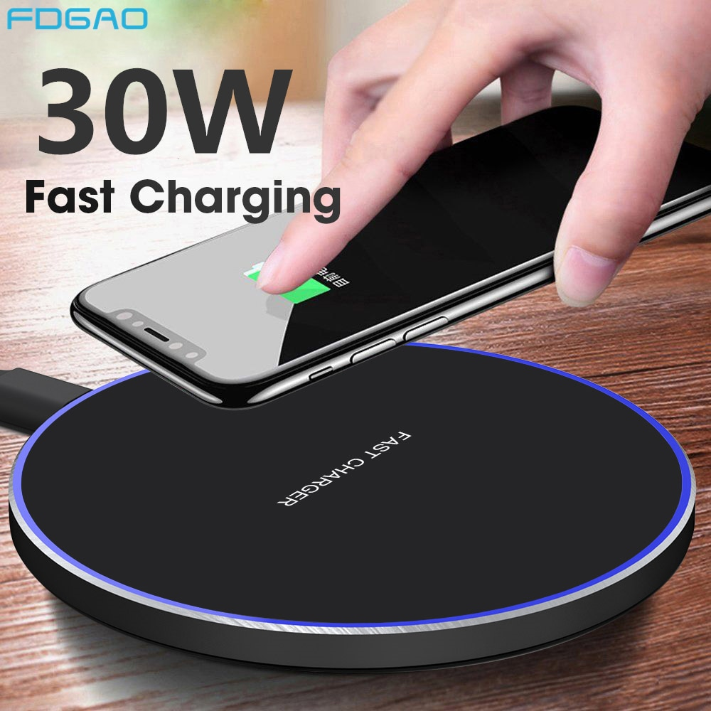 FDGAO 30W Wireless Charger For Samsung S20 S10 S9 Note 20 10 Qi Quick Charge Type C USB Fast Chargin