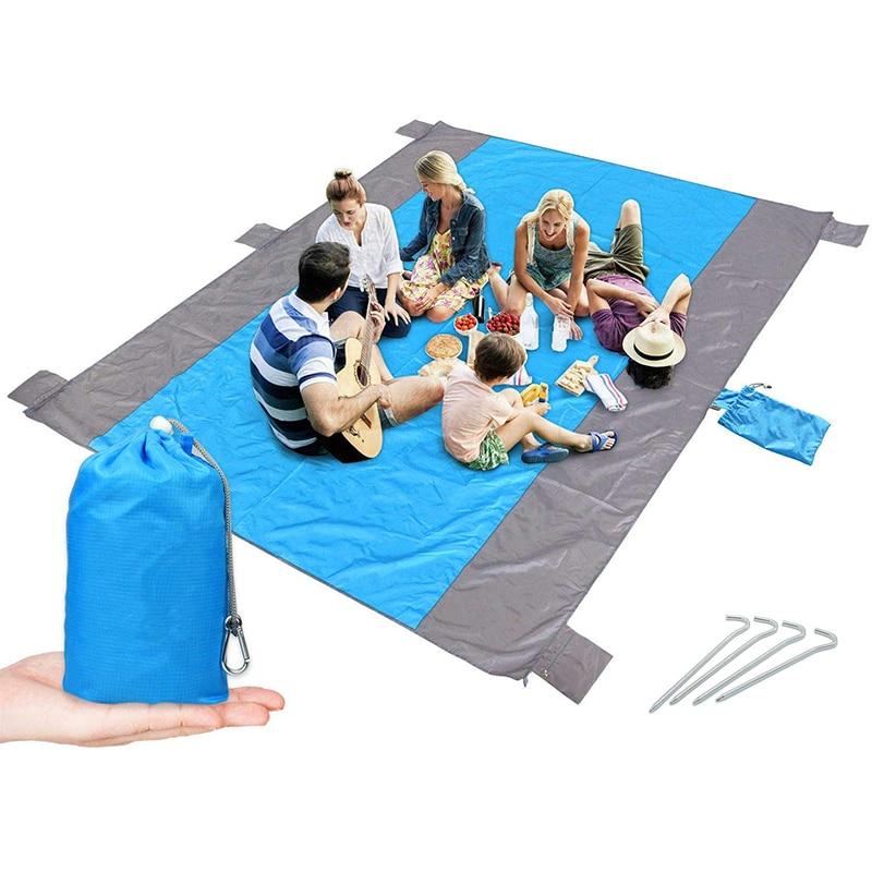 Manta de playa sin arena para 4-7 adultos manta de Picnic de bolsillo impermeable con 6 estacas manta de exterior