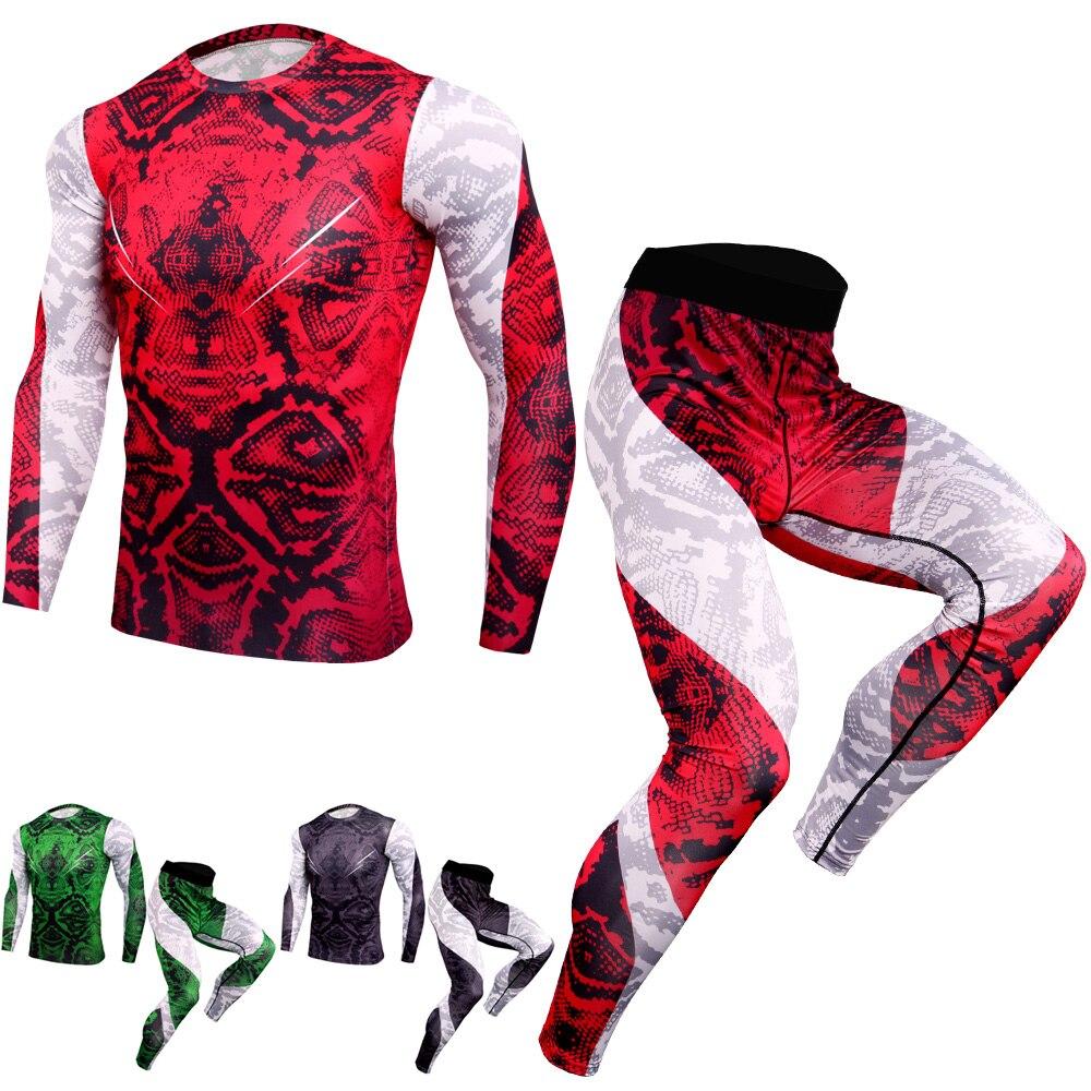 Traje deportivo para hombre, camisetas de manga larga, pantalones de compresión MMA para correr, conjunto de culturismo para hombre, Rashguard, gimnasio, chándal de Fitness, 2019