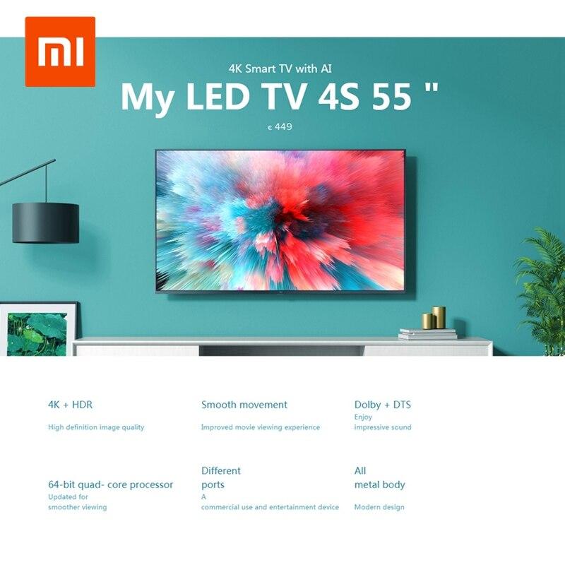 Xiaomi Mi TV 4K HDR 4S AI 32/43 55 дюймов Смарт ТВ Android 9,0 2 ГБ 8 ГБ Голосовое управление 5G WIFI bluetooth 4,2 UHD телевидение Европейский