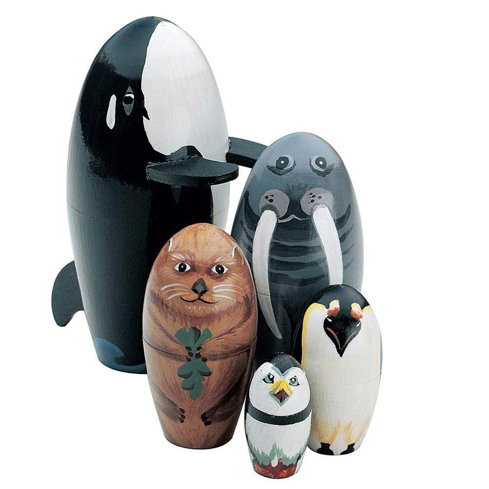 5 unids/set de ballena de madera, pingüino, Animal Matryoshka, muñecas anidadas, figuritas, juguetes educativos para niños, regalo para niños