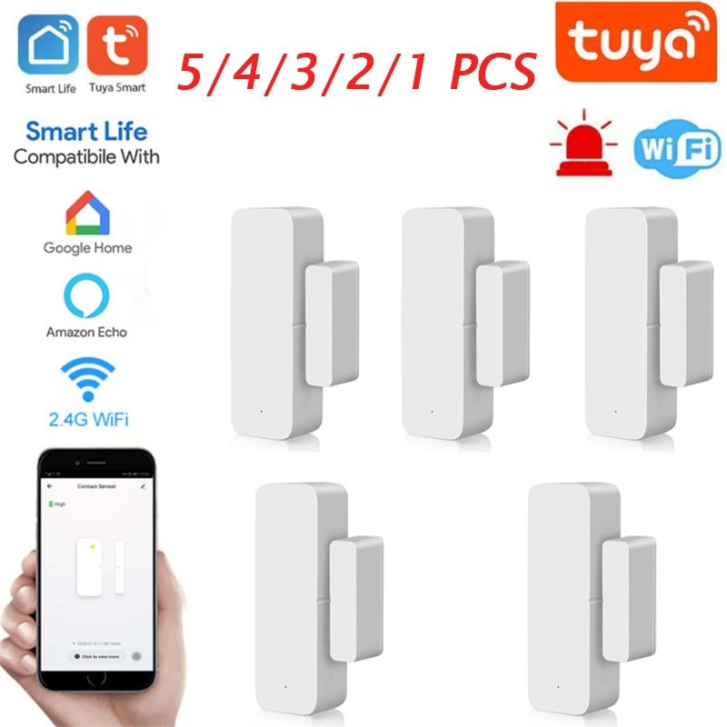 Умные детекторы открытия/закрытия дверей, приложение Smart Life для домашней сигнализации, Wi-Fi датчик окон, работает с Alexa,Google Home