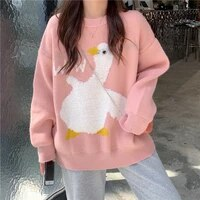 wow white duck knitted sweater sweet girls casual o neck pullovers preppy style loose cartoon jumpers autumn winter warm tops