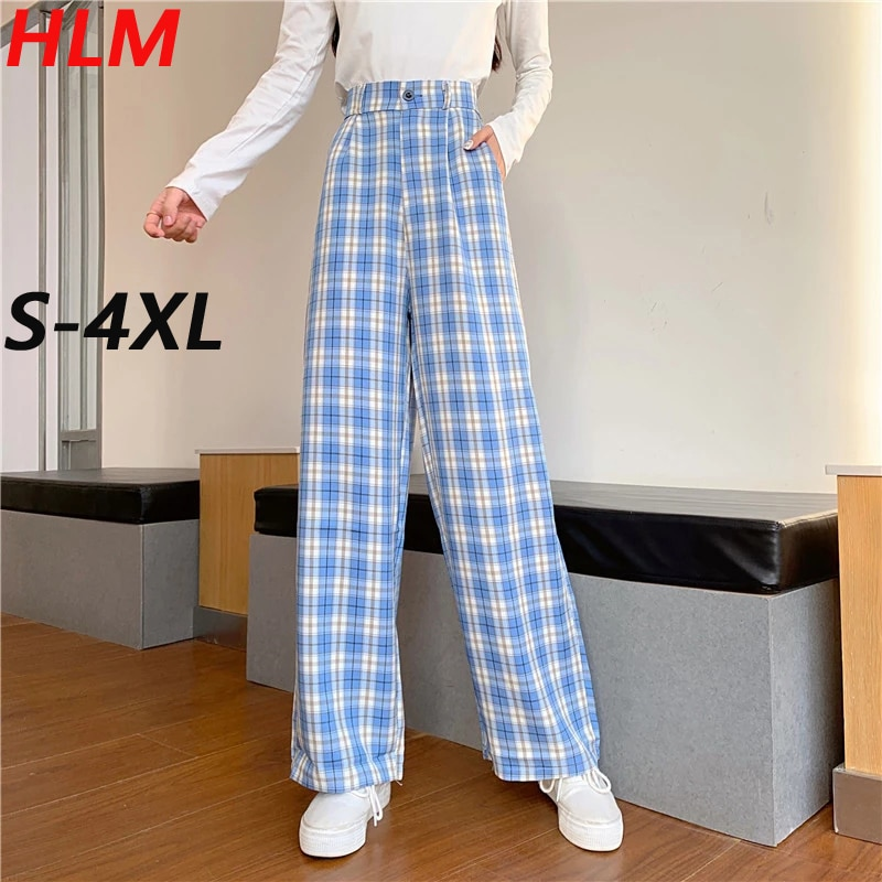 HLM Plaid Straight-leg Pants Simple Vintage Plaid Causal Long Pants Harajuku Hip-hop All-match Fashion Female Trousers
