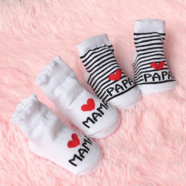 Симпатичные носки для детей; Детская одежда в полоску и с надписями; Люблю мама папа носки для маленьких мальчиков и девочек; Для новорожден...
