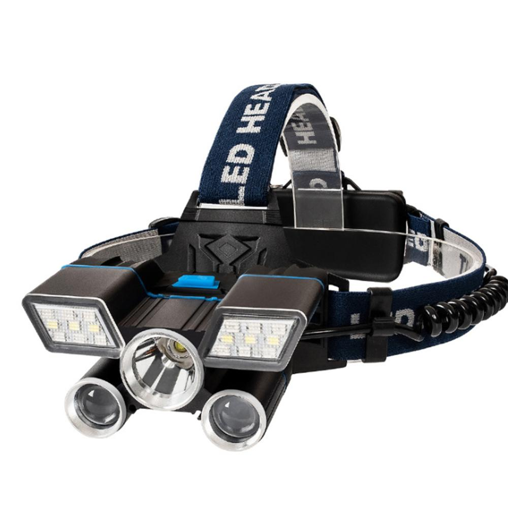 Super Bright LED Headlamp USB rechargeable Multifunctional waterproof red and blue warning light For fishing hunting