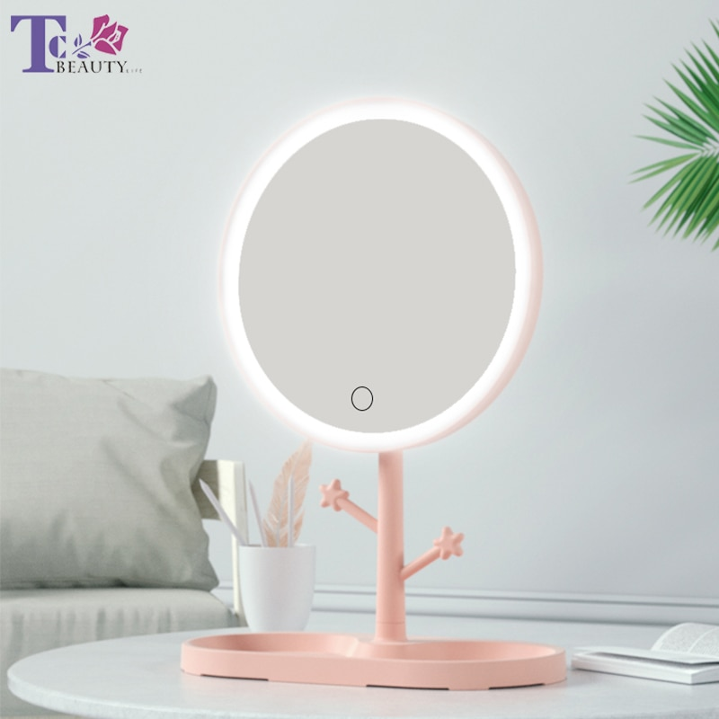 LED Makeup Mirror With Light Ladies Makeup Lamp With Storage Desktop Rotating Mirror Round Shape Cosmetic Mirrors Christmas Gift
