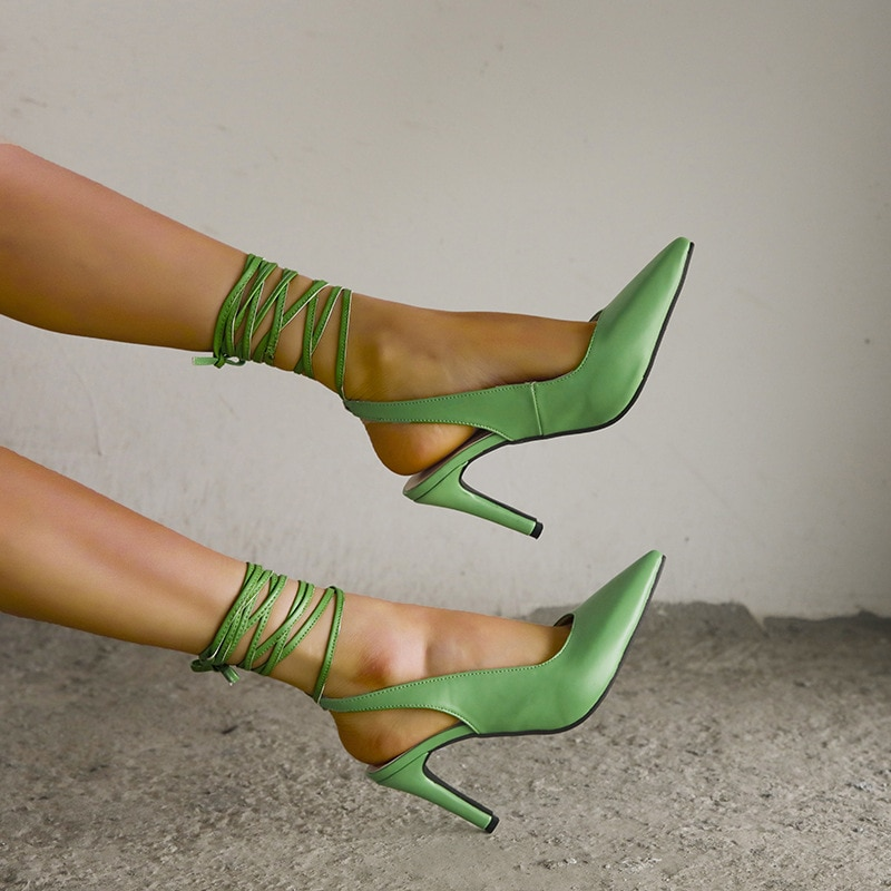 2021 New Style Pointed Toe High Heel Strap Women's Evening Dress Party Shoes Sexy Stiletto Pumps with Ankle Straps Sandals