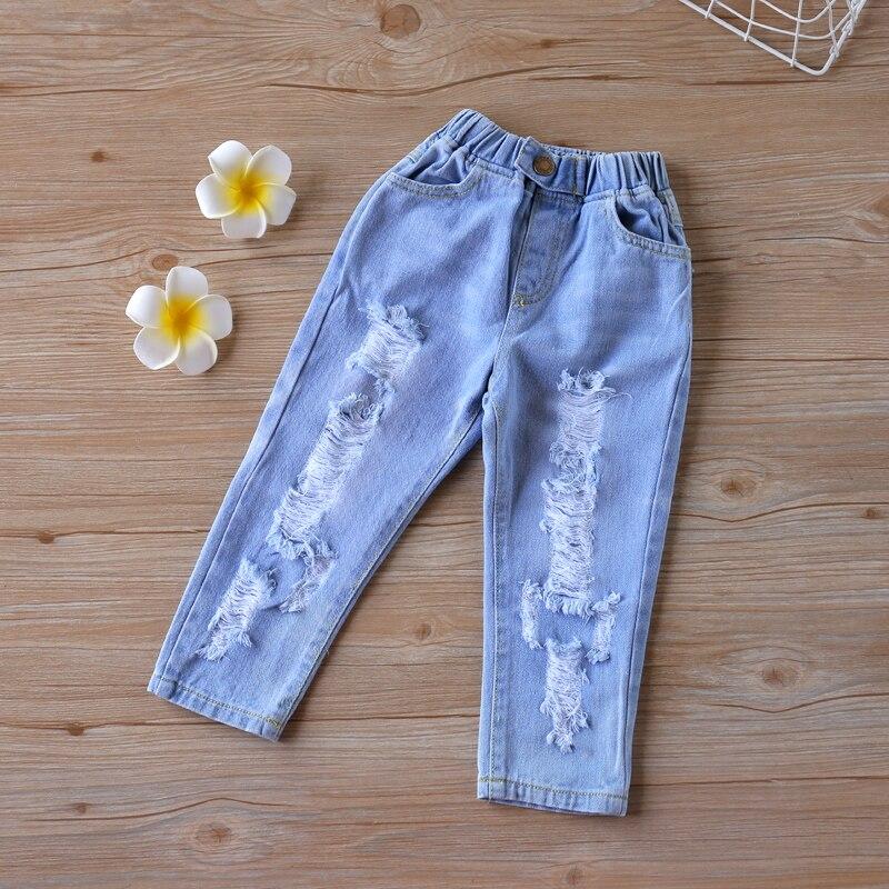 2020 nova moda buraco quebrado crianças jeans ffor meninas meninos primavera verão jeans para meninas casual solto rasgado jeans crianças