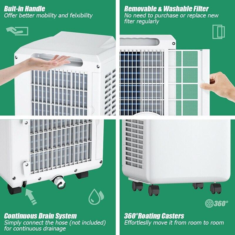 8,000 BTU Portable Air Conditioner Cool Dehumidifier Multifunctional Modes Digital LED Display Control Panel Remote Control Fan