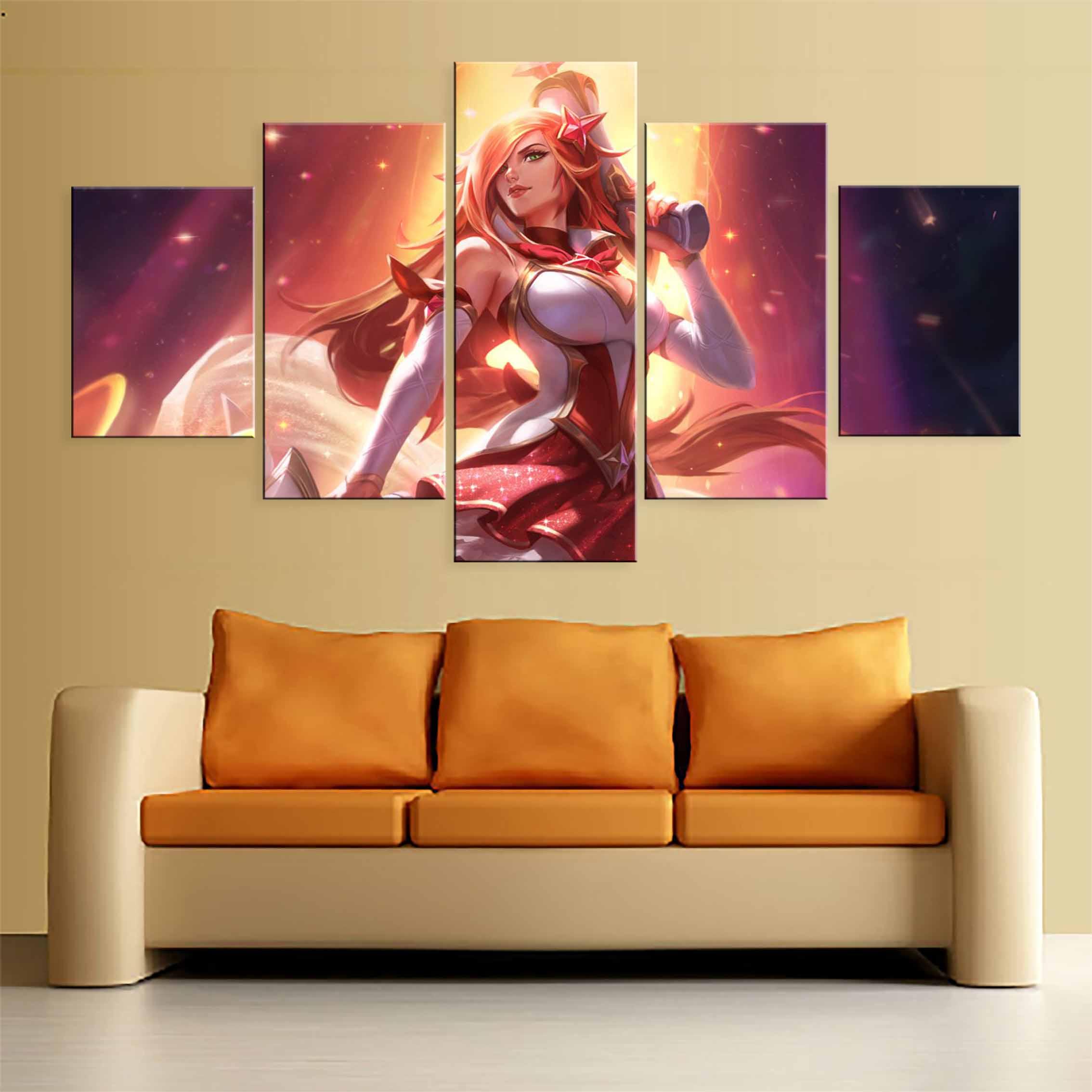 Juego de 5 paneles de Lol League Of Legends Star Guardian, Miss Fortune, pintura impresa en lienzo para decoración de pared de salón, imagen Hd