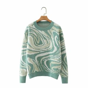 Women Green Knitted Sweater Jumper O Neck Female High Street Oversize Pullovers Chic Tops
