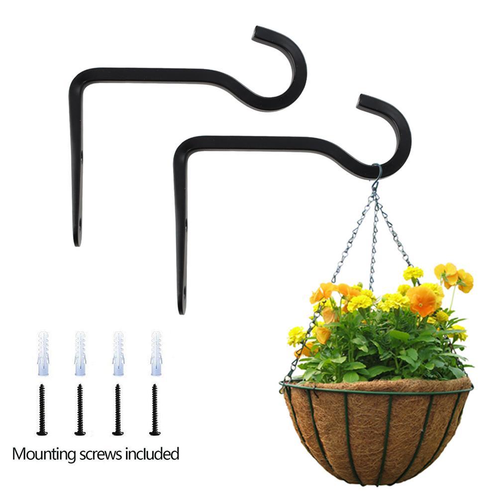 2 Pcs Plant Hanger Bracket Garden Iron Heavy-Duty Hooks For Plant Hangers Bird Feeder And Artworks Indoor Outdoor Decor