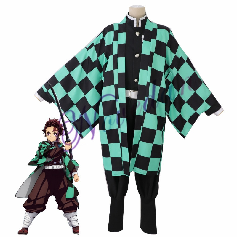Anime Costume Demon Slayer Cosplay Tanjirou Kamado Cosplay Costume Kimetsu no Yaiba Men Kimono Hallo