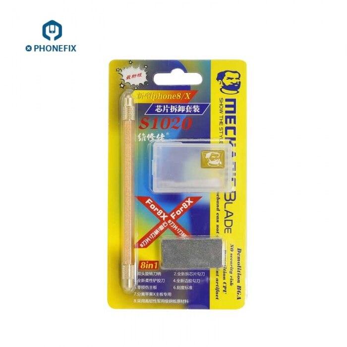 Mecánico S1020 cuchillo de palanca rascador IC Chips herramienta de eliminación para iPhone 8 X placa lógica CPU PCB capa separada eliminar Reparación de desmontaje
