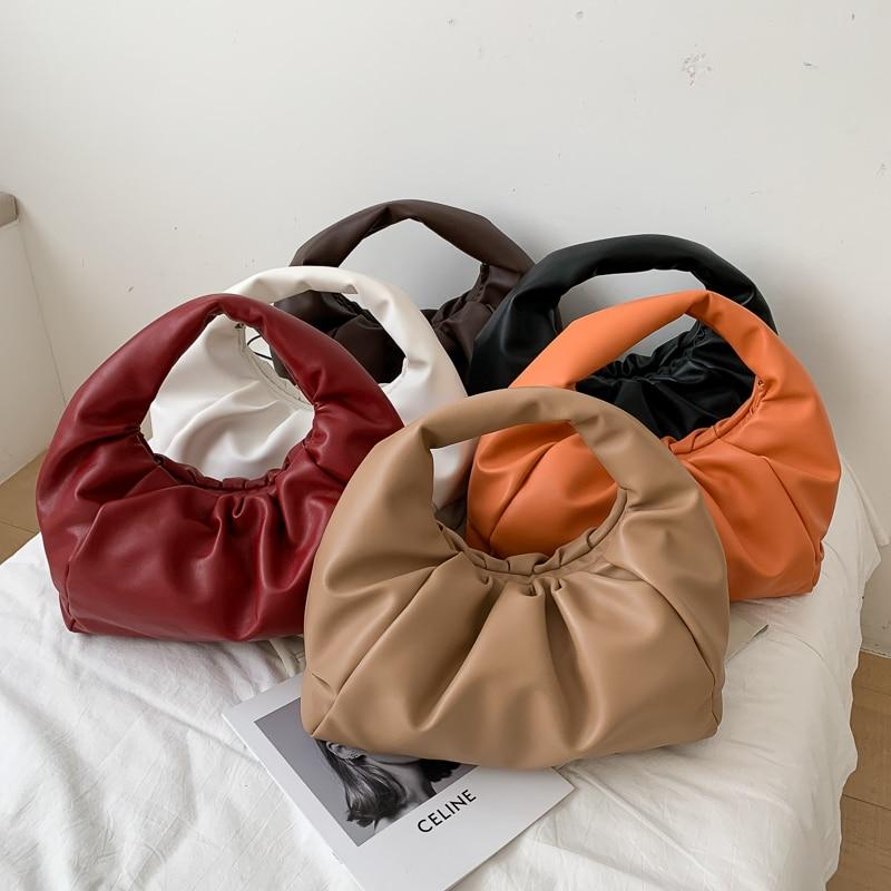 Top Handle Bags For Women 2020 Genuine Soft Leather Hand Bag Ladies New Clutch Purses Female Dumpling Shoulder Bag Large Pouch