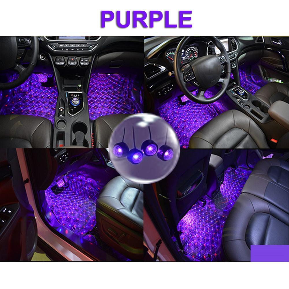 Coche USB LED de atmósfera de la lámpara de Control de sonido Interior ambiente estrella de luz de la decoración de luces interiores para automóvil iluminación asiento del conductor