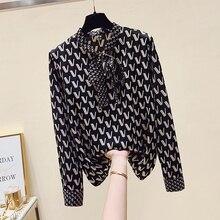 Design di lusso 2021 autunno moda donna fiocco Chiffon lettera stampa camicia top maniche lunghe camicette camicie