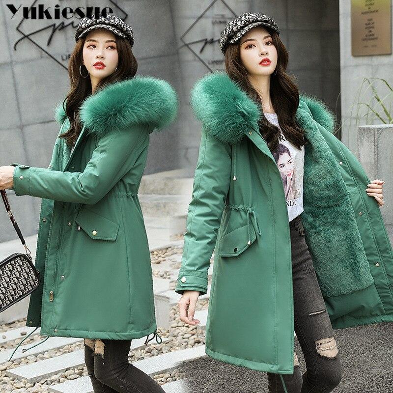 Autumn Winter Jacket Women Velvet Liner Thicken Hooded Parka Women Slim Big Fur Collar Warm Outerwea