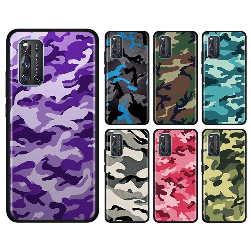Funda fina para Vivo S1 Pro Y12 Y15 Pro Y17 Y19 Z6 5G Y30 Y50 V19 iQOO 3 5G Z1 de la cáscara del teléfono del patrón de camuflaje Camo militar del ejército