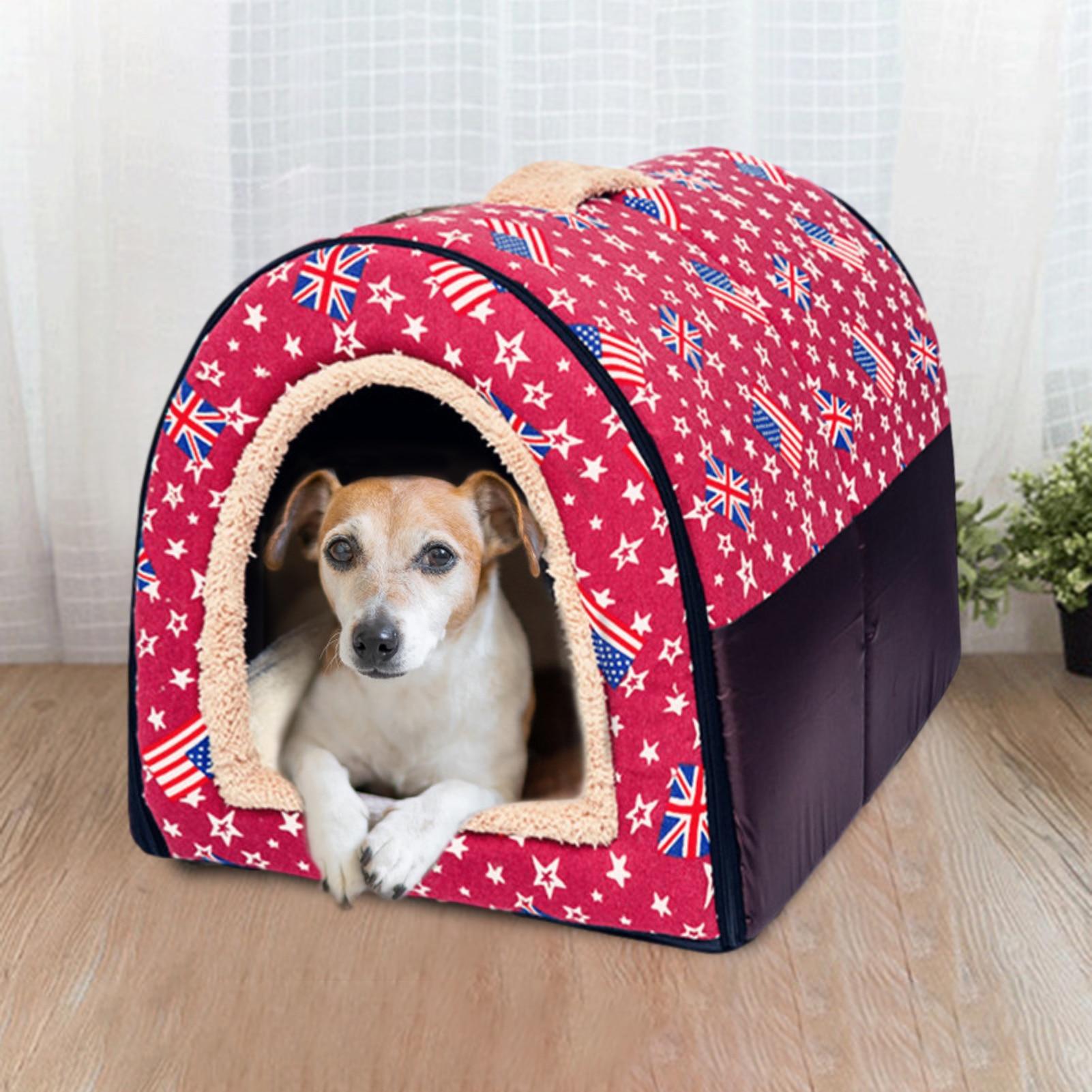 2-in-1 Katze Bett Cave Indoor Faltbare Warme Leinwand Rot Haus Kleine Hund Nest Zwinger Haustier Schlafen matten Dual-zweck Katze Bett Höhle