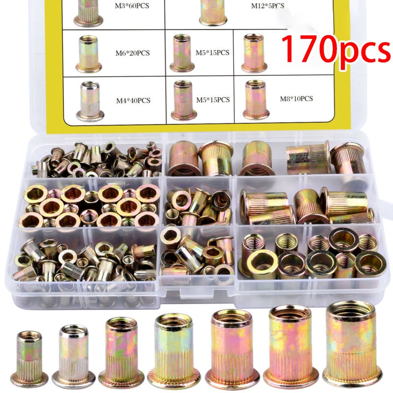 170 unids/set de remaches de tuerca de acero al carbono, Kit de herramientas de inserción roscada, Nutsert remachador, herramientas de remachado M3-M12 mano