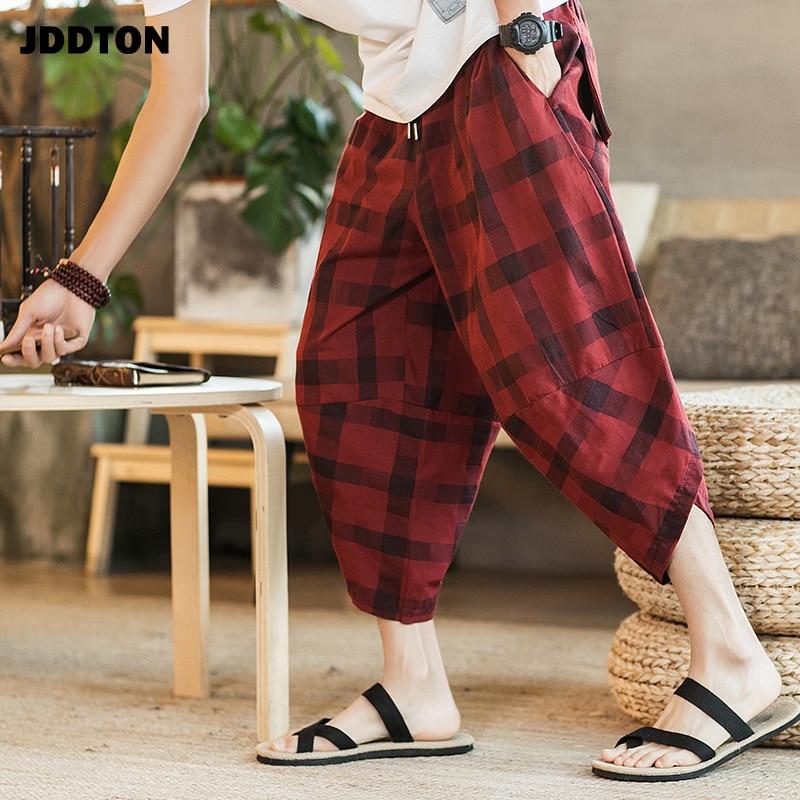 JDDTON de algodón de lino de los hombres pantalones Harem de tobillo-longitud pantalones Jogger Casual Track Loose Plaid Style Bloopers moda Pantalones JE144