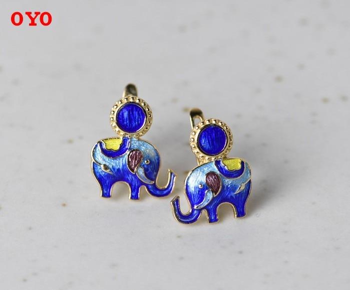 Really925 plata esterlina bebé elefante pendientes lapislázuli cloisonne esmalte joyería