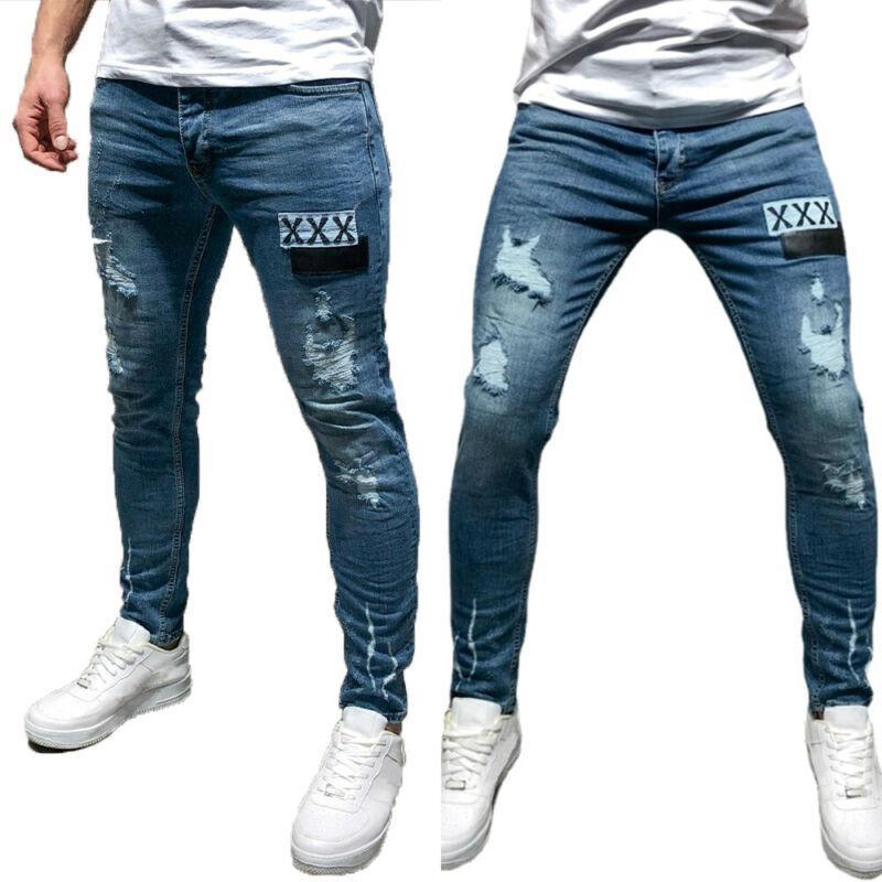 Jeans Elastic Waist Skinny Jeans Men 2021  Stretch Ripped Pants Casual Slim Fit Long Pants Mens Denim Jeans Blue