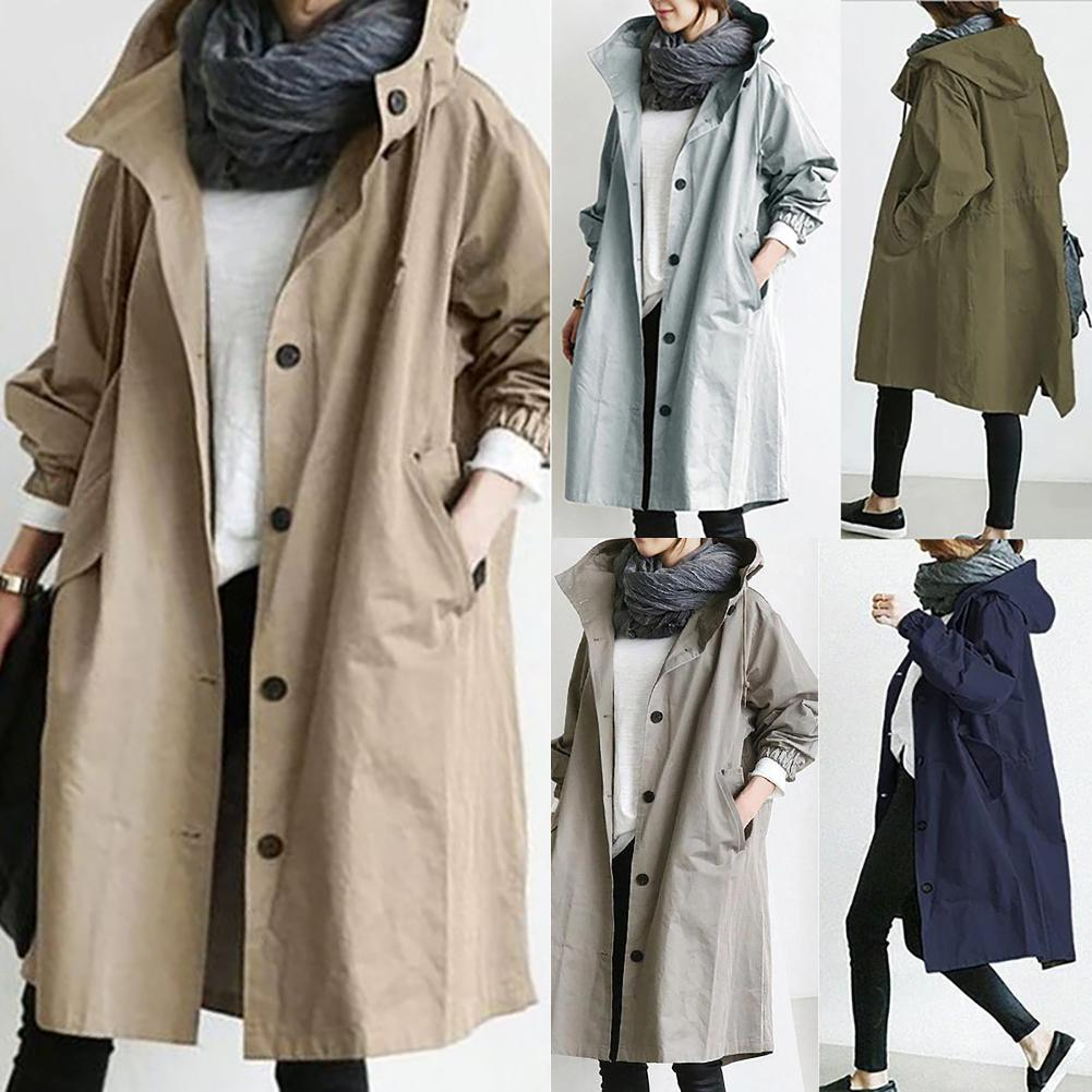 2020 Women Autumn Solid Color Pocket Hooded Windbreaker Long Trench Coat Outerwear Women's clothing