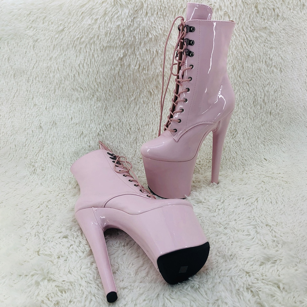 Leecabe  20CM/8inches patent  PU  upper ankle boots fashion shoes  High Heel platform Pole Dance boot