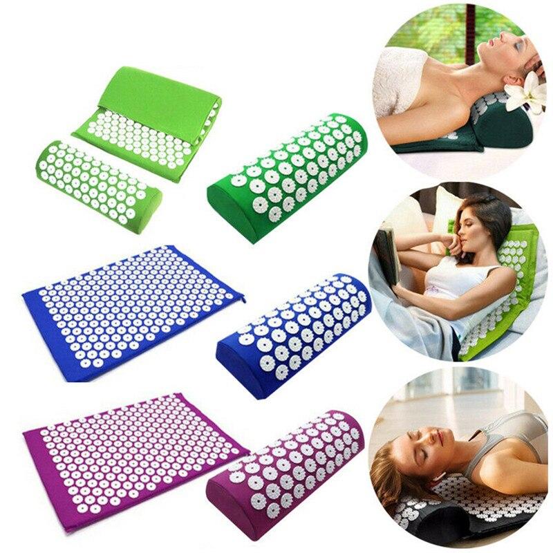 Cojín de masaje-Mat aliviar el estrés acupuntura por dolor espiga de Yoga Mat estera de masaje Rosa Spike masaje y relajación