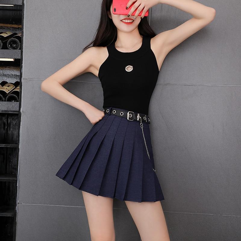 Korean Style Woman Girl Harajuku Preppy Style Dance Pleated Skirts Streetwear Womens Belted High Waist Solid Mini Short Skirt