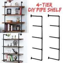 2 pçs preto 4 camada prateleira de parede móveis industriais suporte prateleiras de armazenamento pendurado tubo ferro preto diy tubo prateleiras