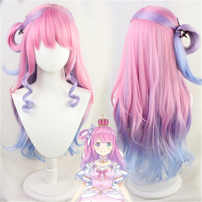Vtuber Youtuber Hololive Himemori Luna Cosplay Heat Resistant Synthetic Long Pink Curly Hair Wig Hallowen Party+ Free Wig Cap