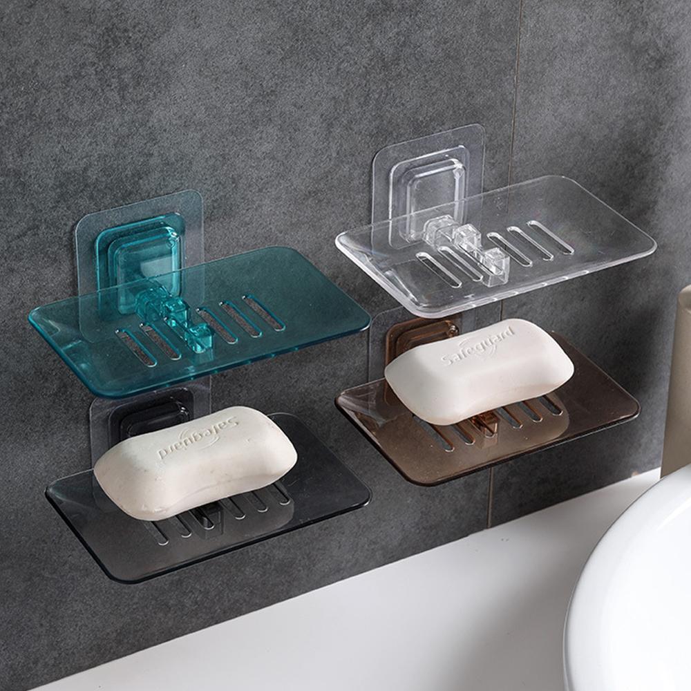 1 estante de jabón montado en la Pared Soporte de jabón de succión duradero creativo organizador de cajas contenedor ponche-free baño asistente