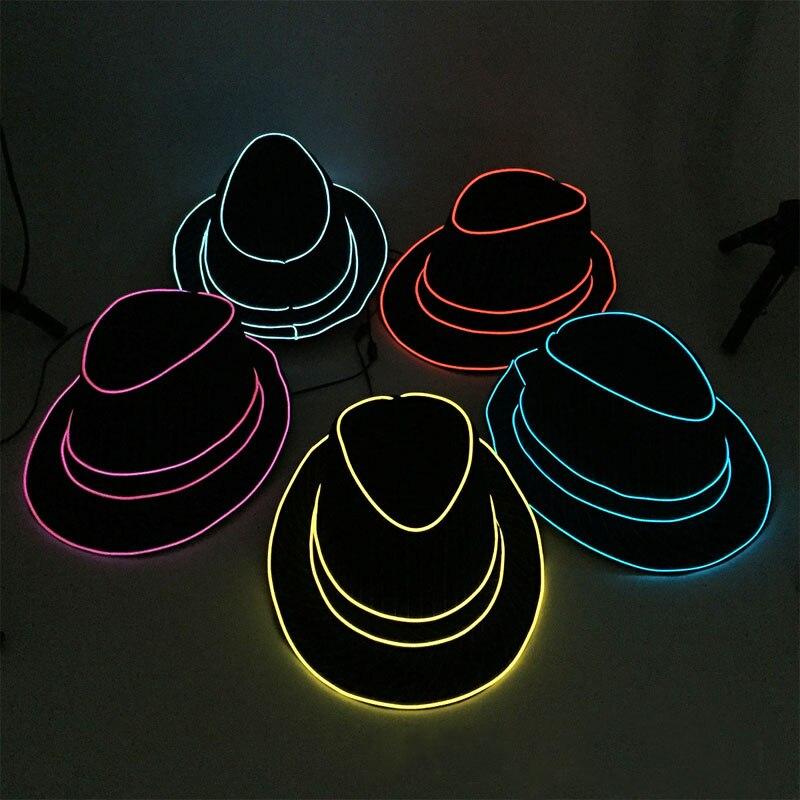 Jazz Dancer Favors Wire Glowing Streak Gentleman Cap Attractive Crazy Led Strip Neon Top Hat as Event Wedding Party Supplies