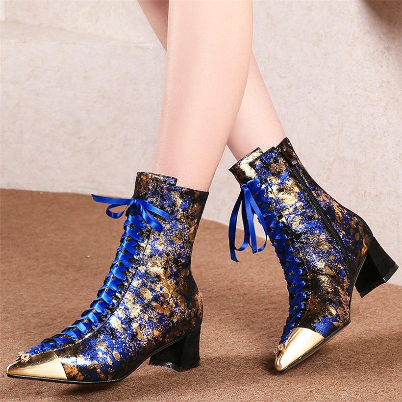 Sapatos de Escritório de Inverno Rendas até Sapatos de Couro de Camurça de Vaca Bombas de Salto Alto de Metal Botas de Bordar Senhora Mulheres Saltos Grossos Apontado Toe Tornozelo Sapatos