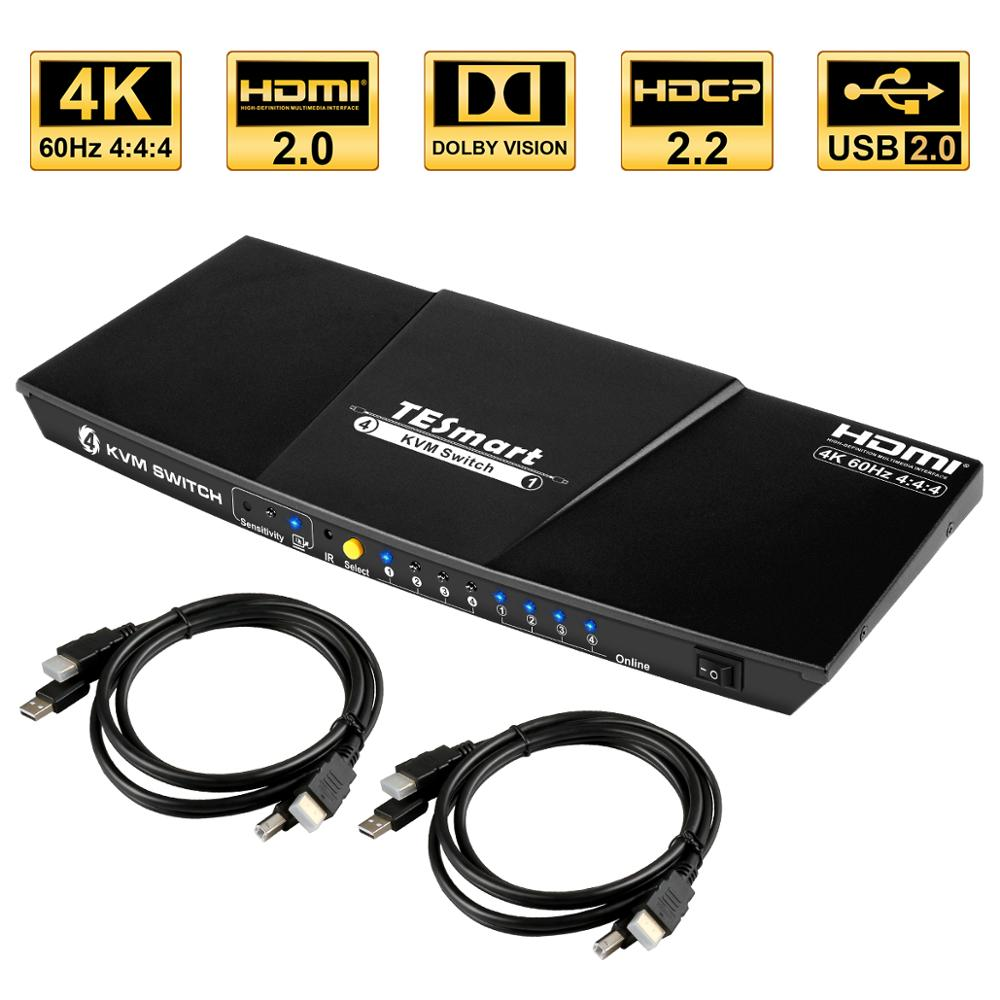 TESmart HDMI 4K@60Hz High Quality HDMI KVM Switch 4 Port USB KVM HDMI Switch Support 3840*2160/4K*2K@60Hz Extra USB2.0 Port