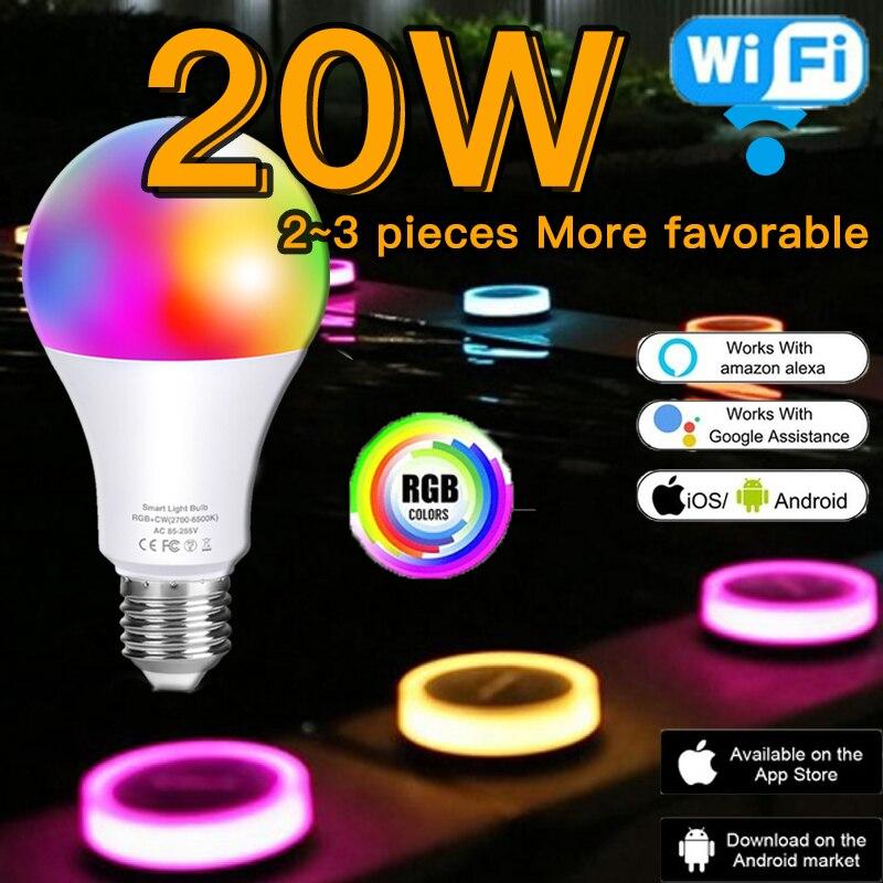 Bombilla inteligente RGB de 20W con atenuación de colores, luces LED RGB...