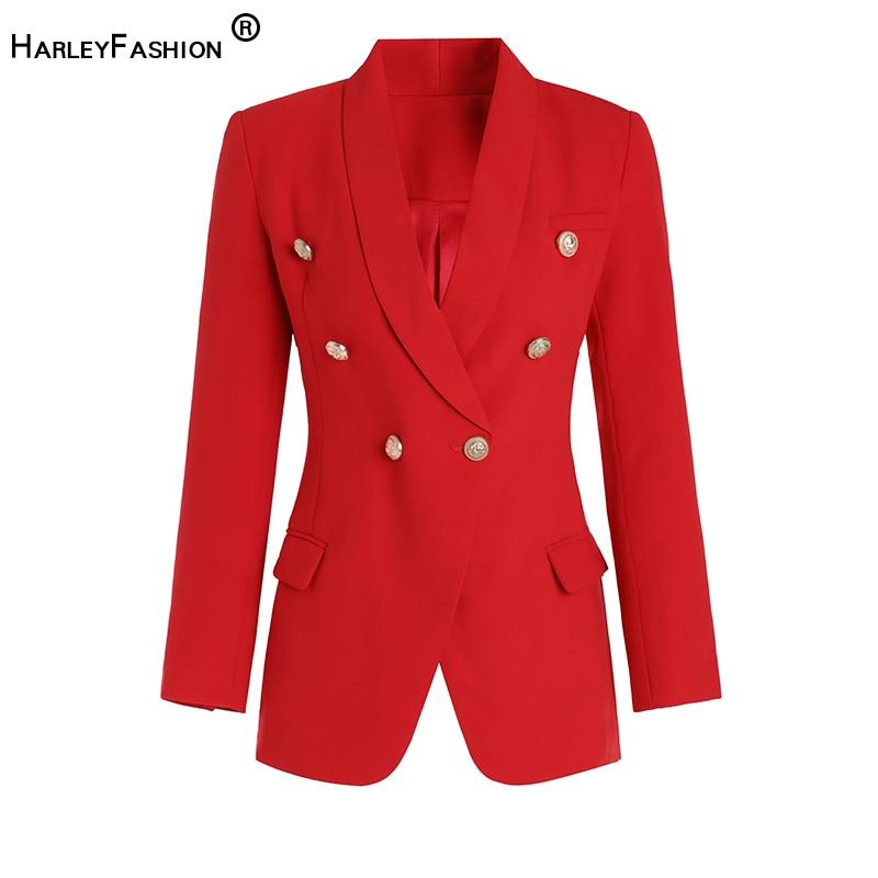 HarleyFashion elegante diseño Calssic StyleWomen largo Blazer Color sólido negro/blanco/rojo Casual Slim Javkets abrigos Blazers