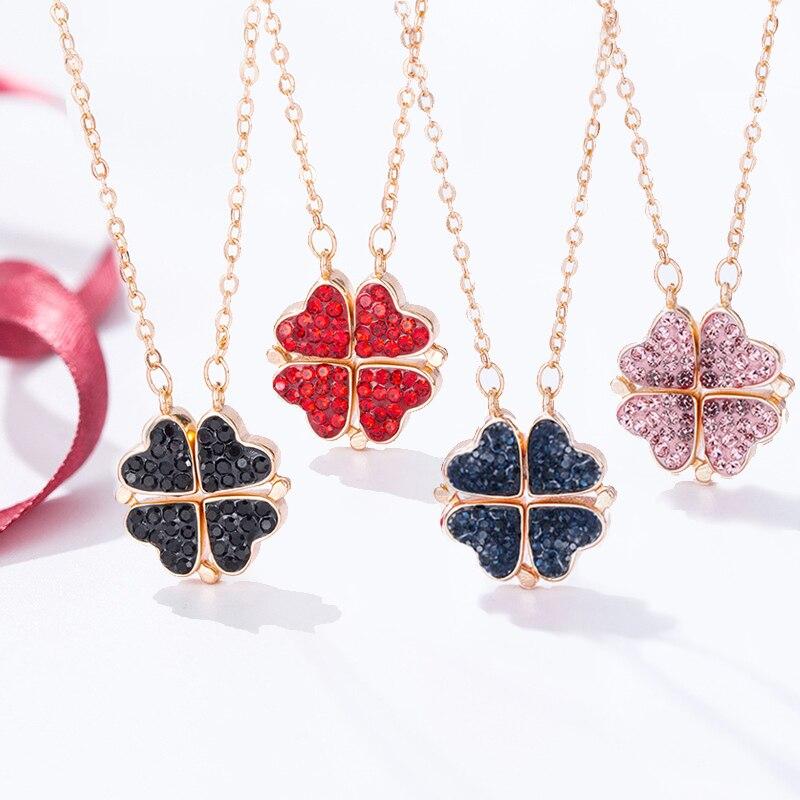 Weise doppelseitige Vier Herz Clover Halskette Anhänger Rosa Rot Blau Glück Gras Schlüsselbein Kette Frauen Mädchen Halsband