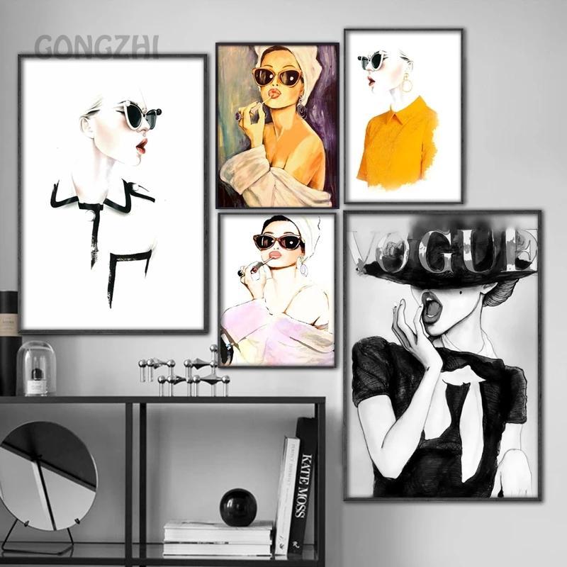Скандинавская абстрактная настенная Картина на холсте, модный постер в стиле ретро с изображением леди, звезды, современное популярное укр...
